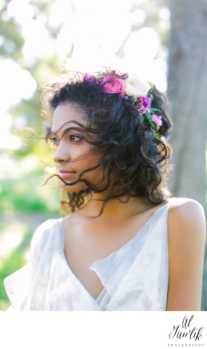 Garden Grove Wedding, Beautiful Bride, Flowers in Hair
