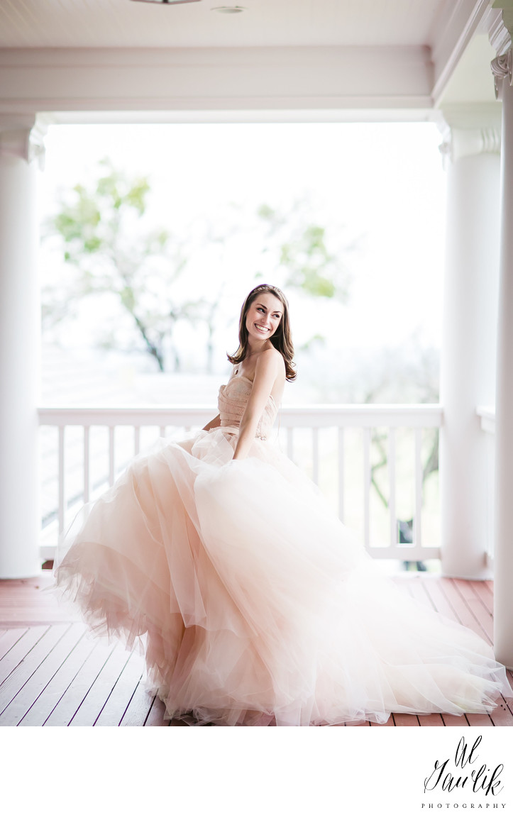 Shaded porch - old mansion - fun bridal portrait