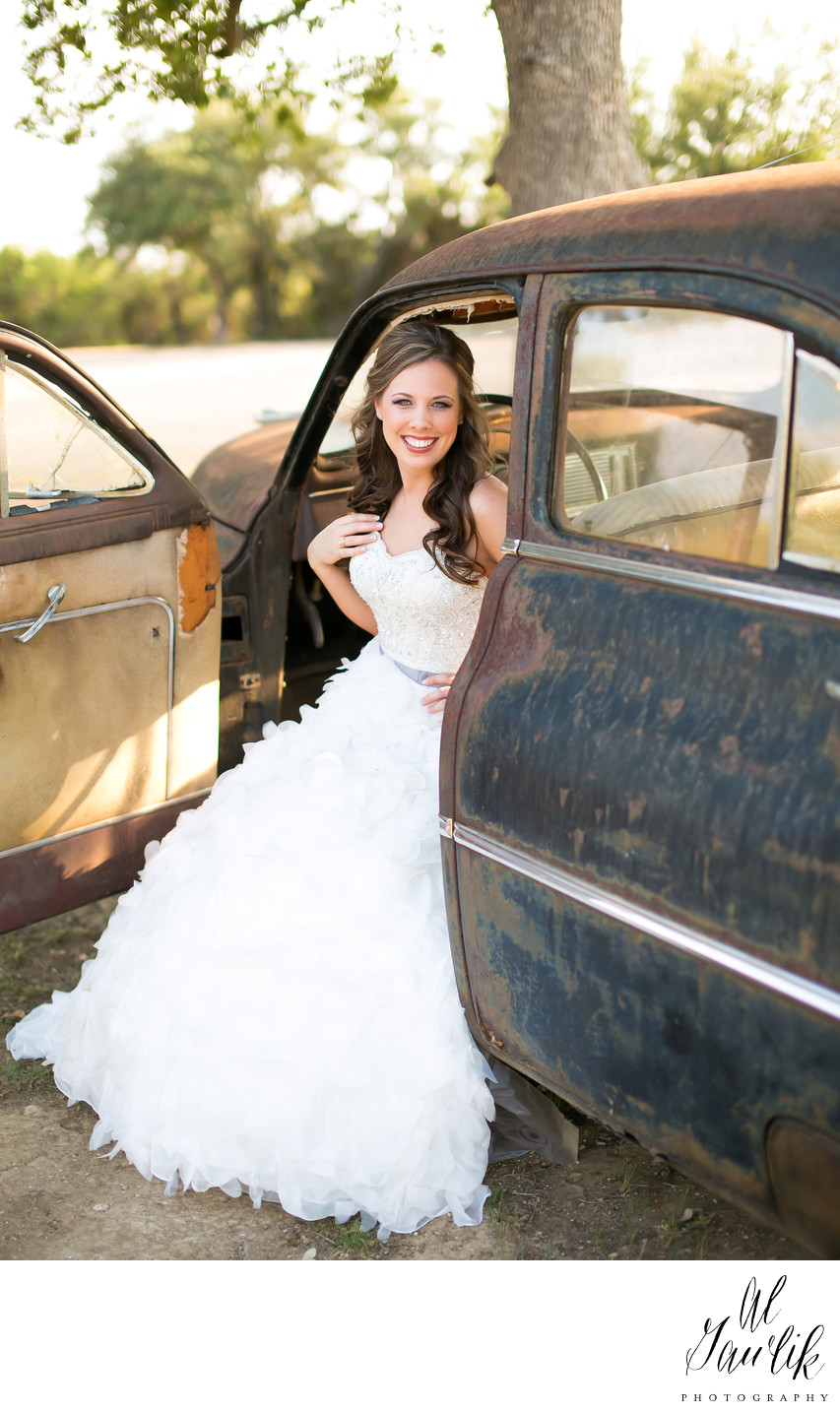 Texas Wedding Photographer Bride and classic car