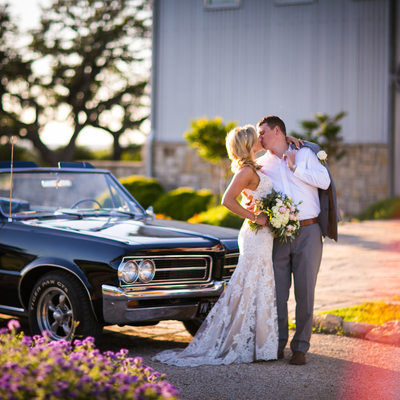 Classic Car Classy Couple in Wedding Photo