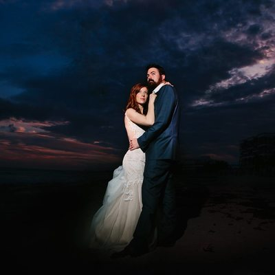 Sunset Wedding Portrait dark sky