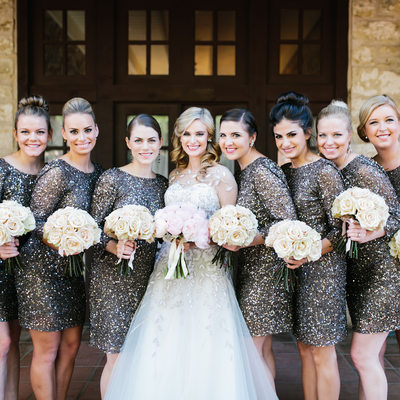 Austin Wedding with Nine girls and flowers for each