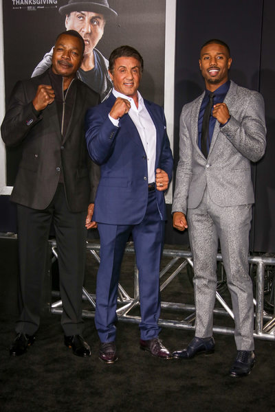 Sylvester Stallone, Carl Weathers and Michael B. Jordan