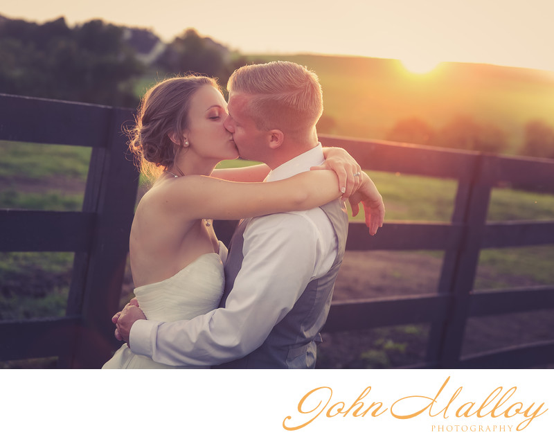 Sunset Wedding Kiss at Lauxmont Farms