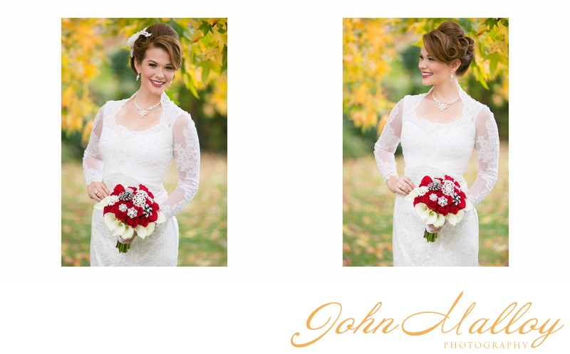 Yellow Leaves, Elegant Bridal Portrait