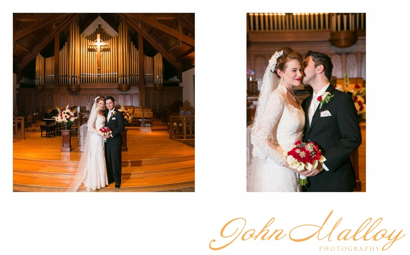 Wedding Portrait Inside Towson Presbyterian Church