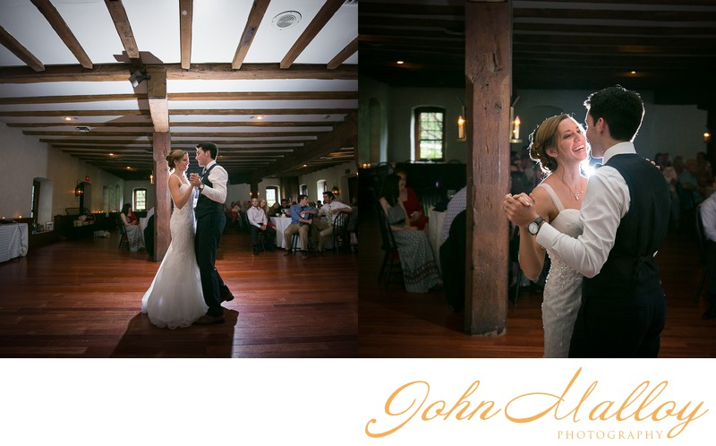 Bride Smiling, First Dance at Stone Mill Inn