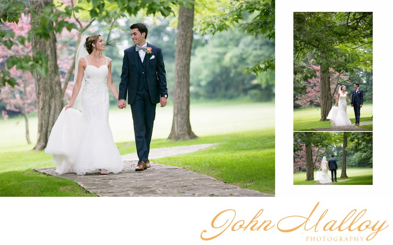 Romantic First Look Walk, Wedding at Stone Mill Inn