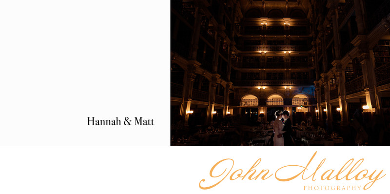 Romantic Wedding Portrait at Peabody Library