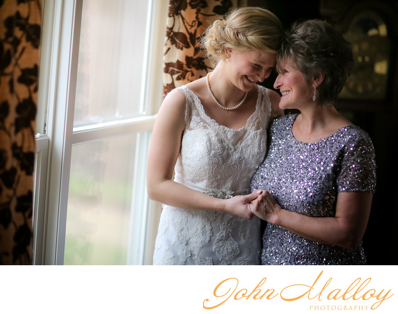 Beautiful, Window-lit Bride and Mother