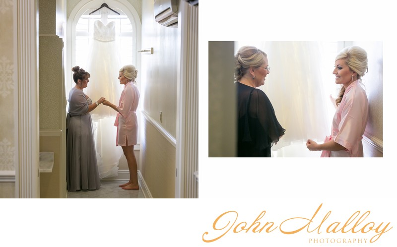 Bride and Mother at Window-Lit Wedding Dress