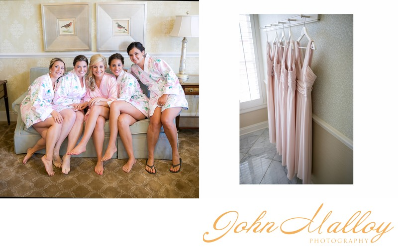 The Bride, Her Bridesmaids, and Pink Dresses