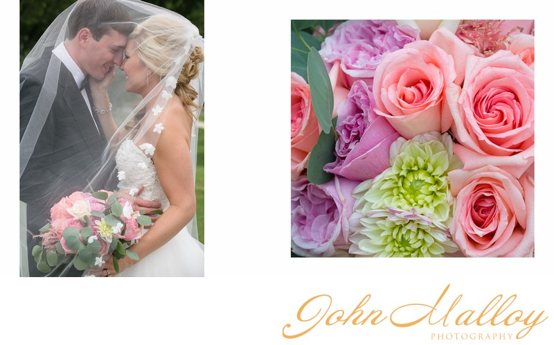 Veiled Bridal Portrait and Wedding Bouquet