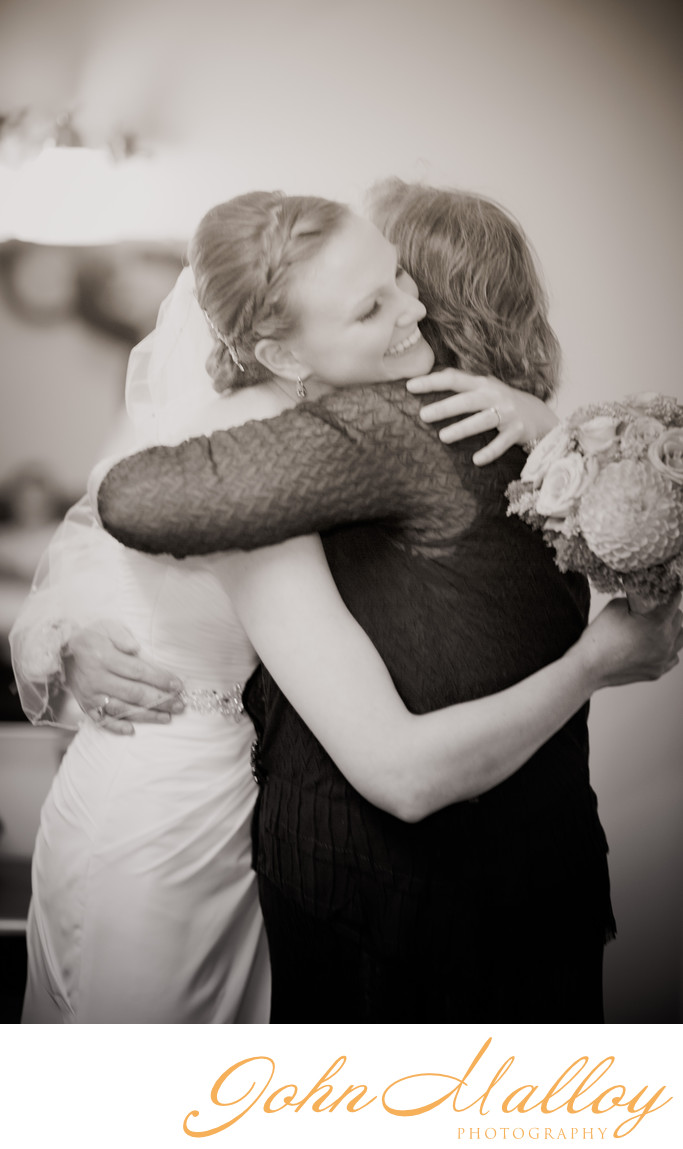 Mother-Daughter Hug, State College Chapel Wedding