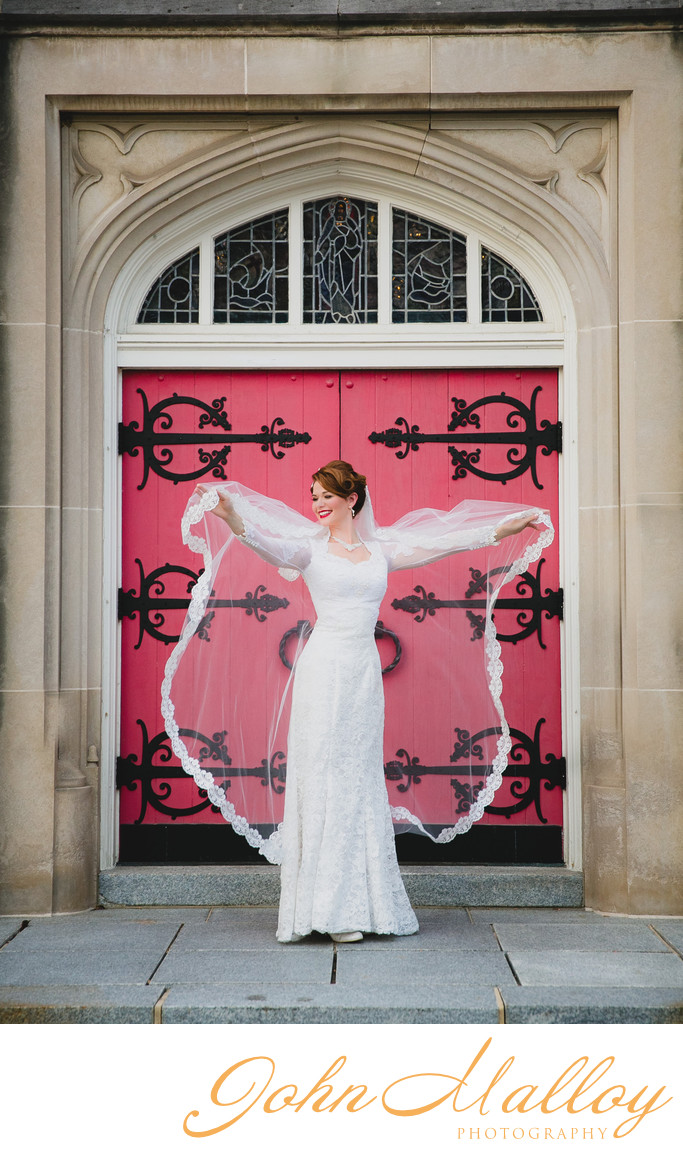 Stone Church Doorway Bridal Portrait, Maryland