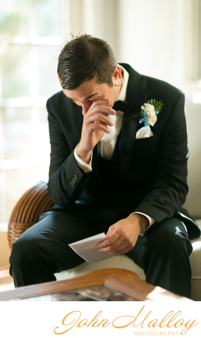 Groom Crying While Reading Letter from His Bride