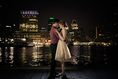 City-lit Engagement Portrait, Baltimore Inner Harbor