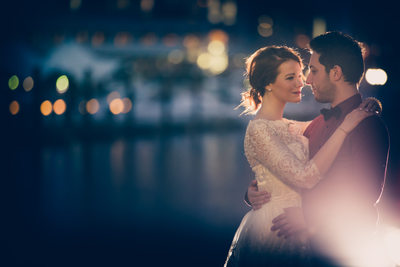 Nighttime Engagement Portrait, Baltimore Inner Harbor