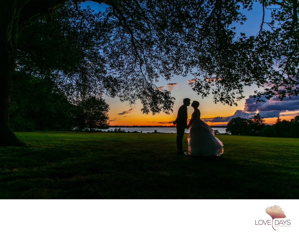 Blithewold Mansion Wedding Portrait at dusk.