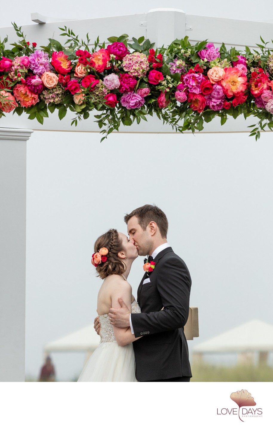 First Kiss at intimate CBI Wedding