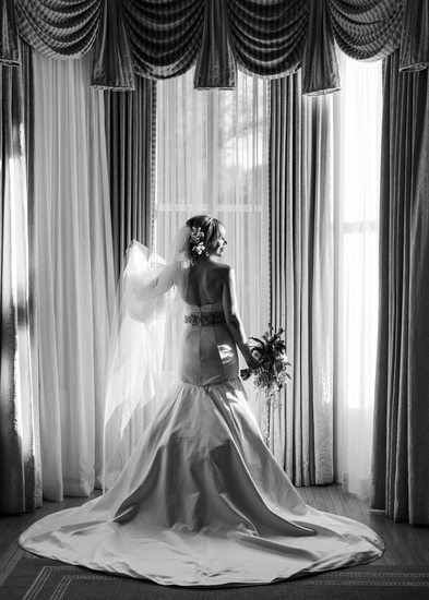 Boston Bridal Portrait in Black & White
