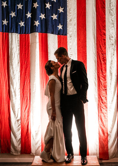 American Flag Wedding Portrait