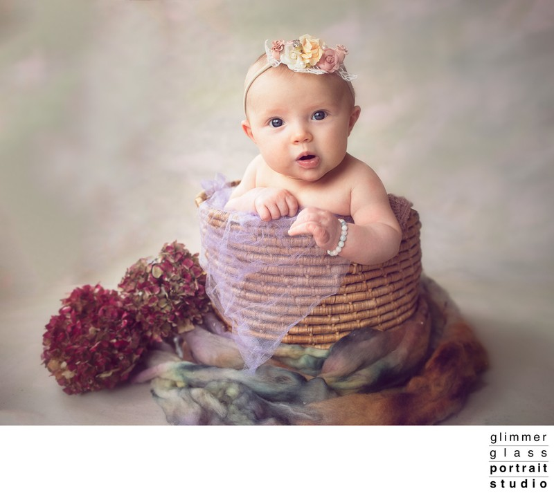 Portrait of Two Month Old Baby in a Basket