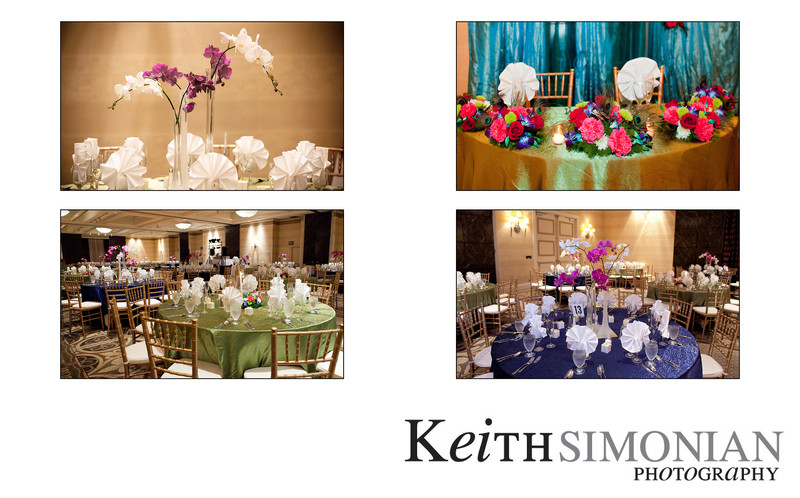 Colorful flowers decorate the reception tables
