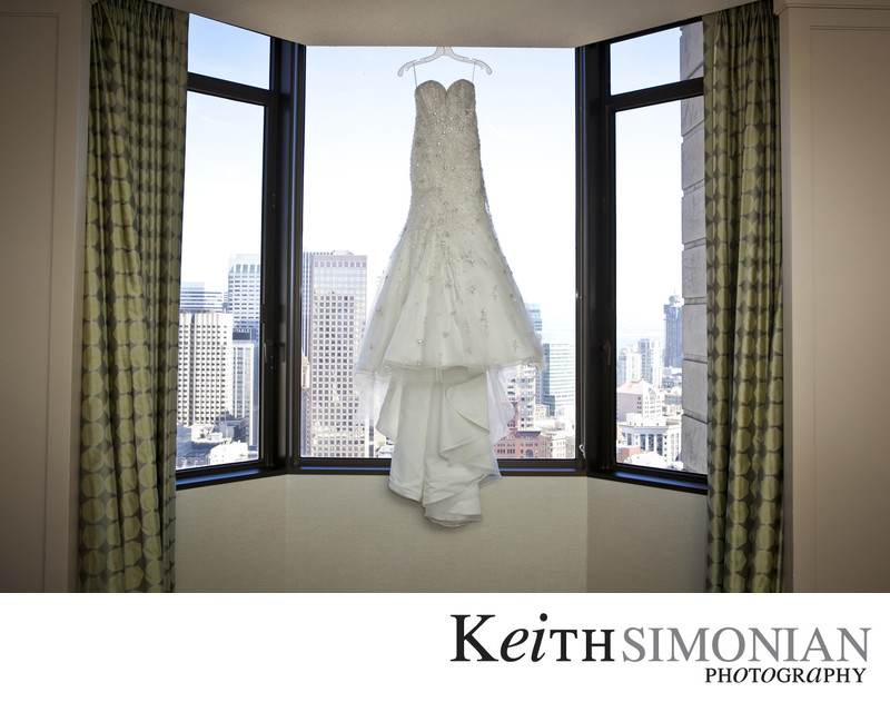Wedding Dress with San Francisco skyline behind