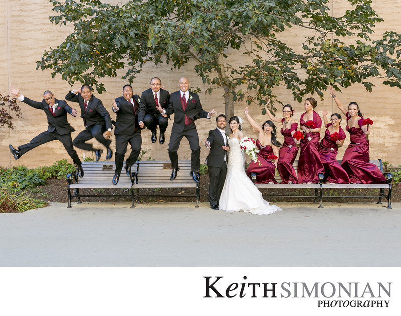 Bridal Party Jumping Photo