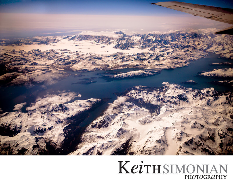 Snow Covered Mountains of Alaska seen from 39,000 Feet