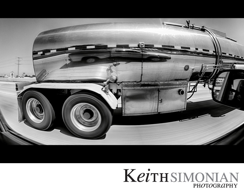 Reflection in stainless steel tanker truck