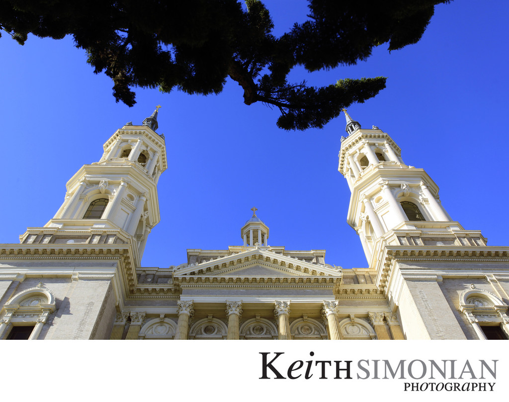 The twin towers of St Ignatius Church in San Francisco