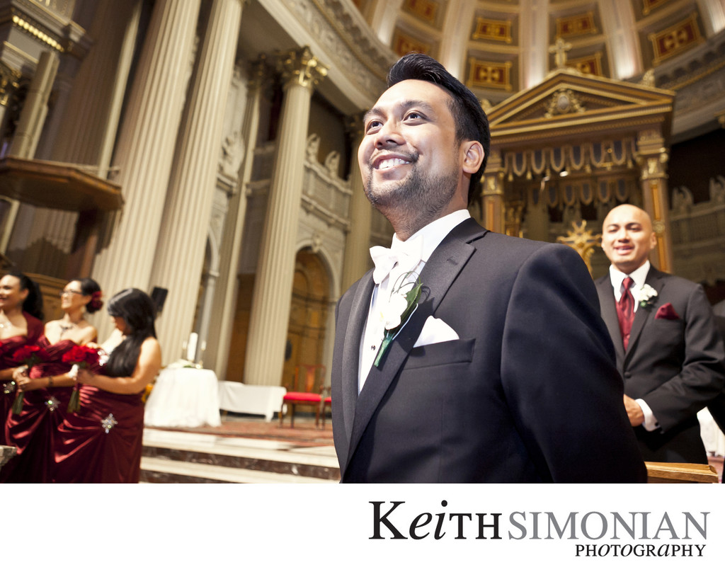 Groom waits for Bride to walk up the aisle