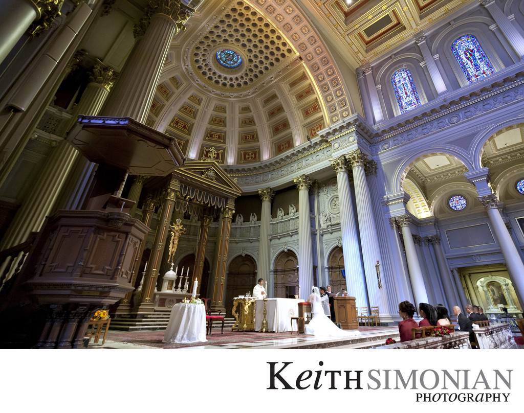 Bride and Groom at the alter - St Ignatius Church San Francisco