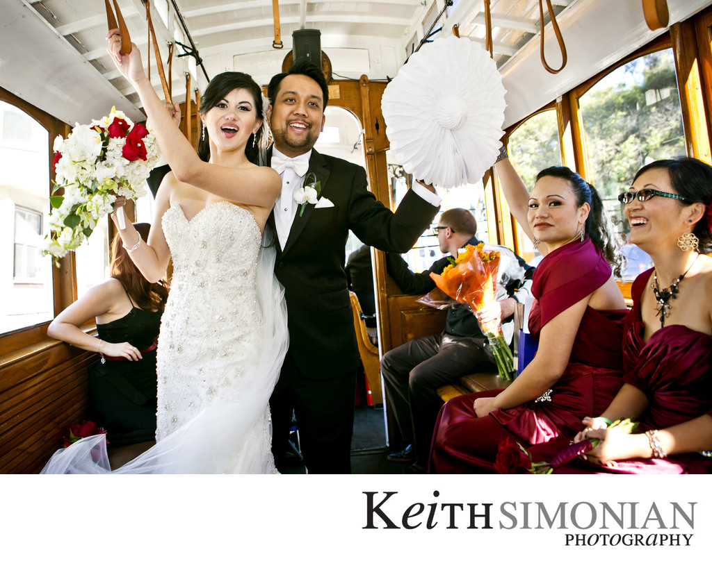 Bride and Groom enjoy cable car trolley ride