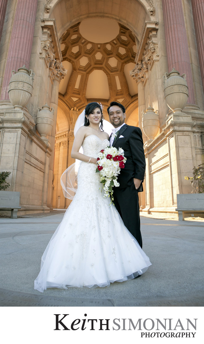 Bride and Groom inside the Palace of Fine Arts