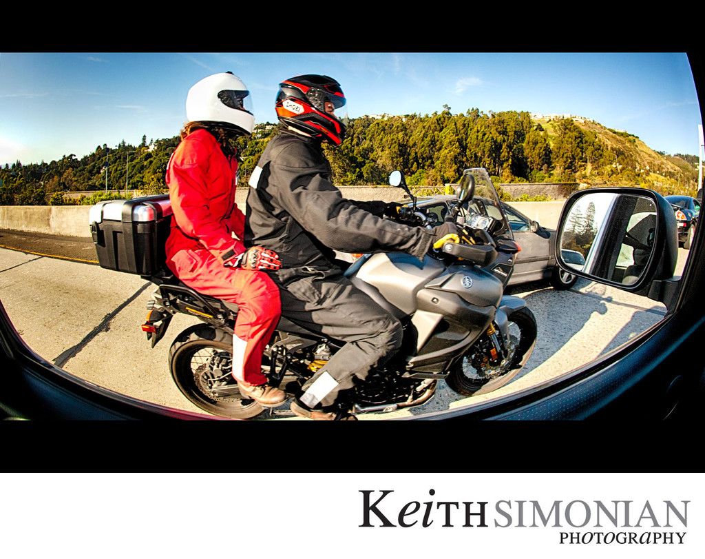 Motorcycle with two riders captured with 15mm fisheye