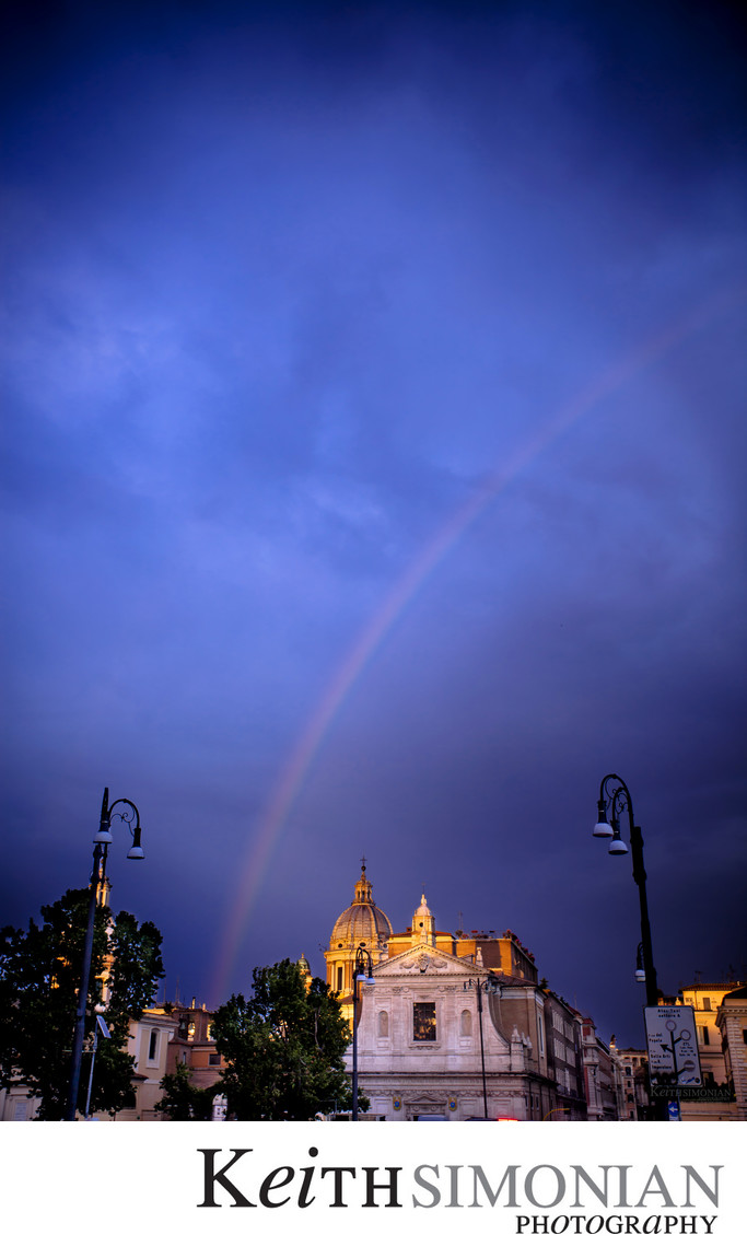 Rainbow over San Rocco Church - Rome Italy