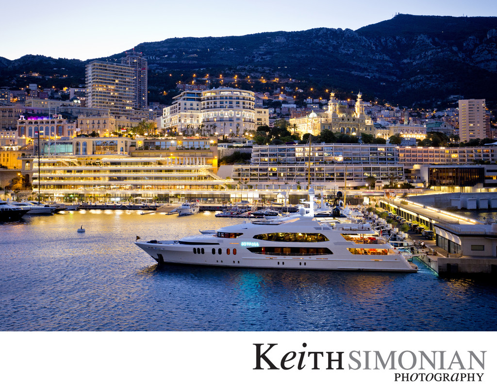 Monte Carlo - Port Hercules - Monaco Yacht Club at dusk