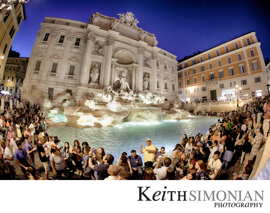Trevi Fountain Rome Italy - Photographed with 15mm fisheye lens