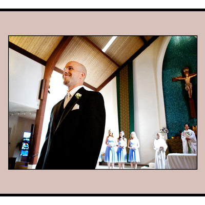 Bride and Father Walking up the Catholic Church aisle