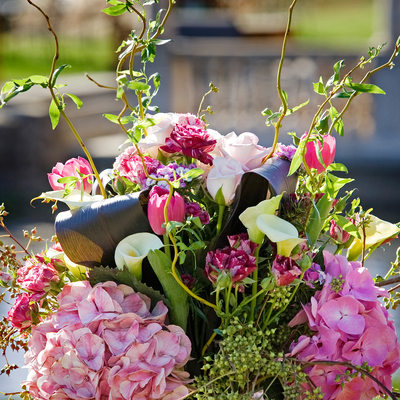 Flowers decorate the Outdoor Wedding Ceremony