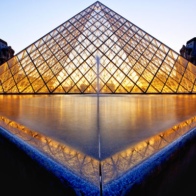 Louvre Museum Glass Pyramid & pond designed by I.M. Pei