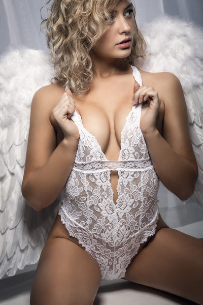 White Lingerie body suit and wings