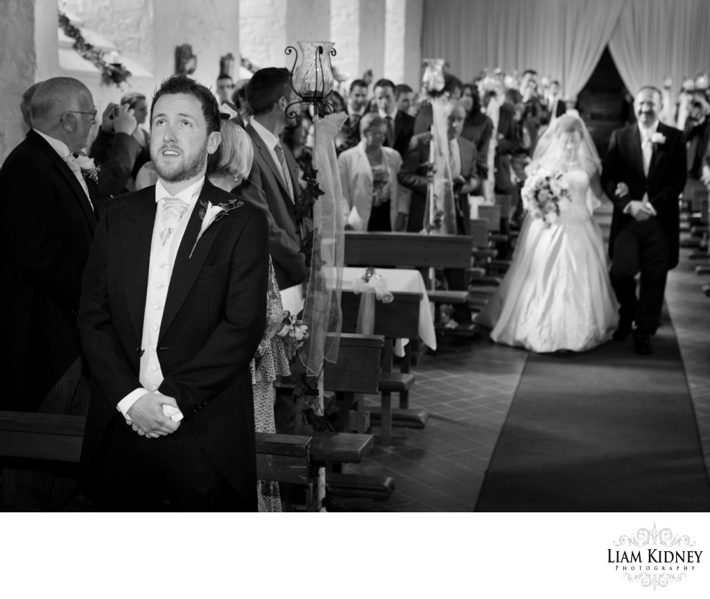 Nervous Groom in Ballintubber Abbey Wedding