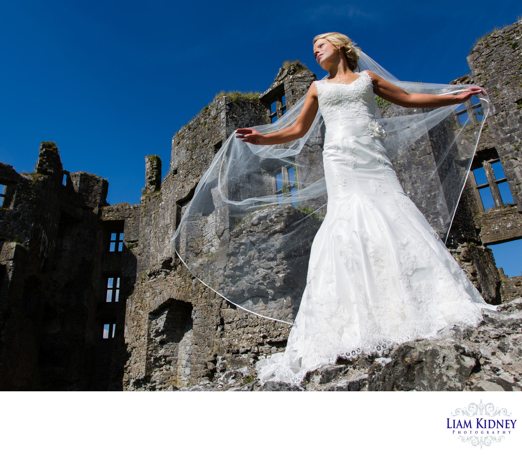 Bride on Stone Ruin in Ireland