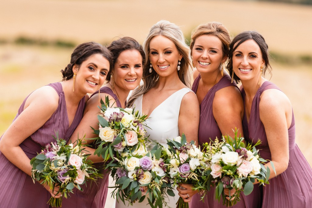 Bride and Bridesmaids in Purple
