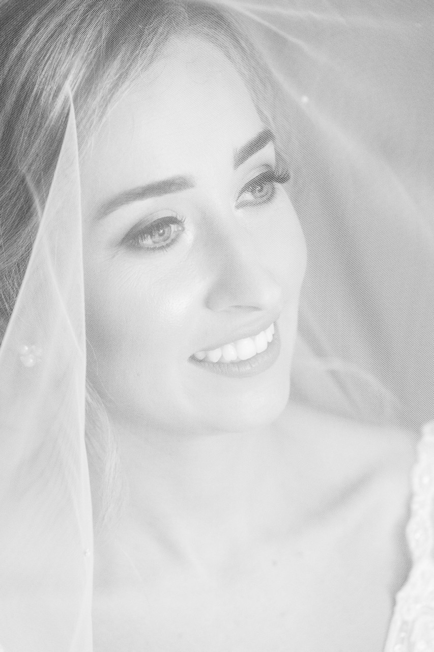 Black and White Bridal Portraits in Athlone