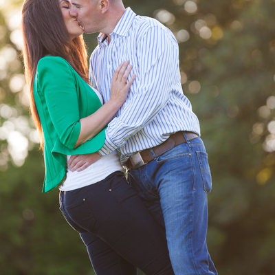Couple Kissing at Engagement Session in Ireland